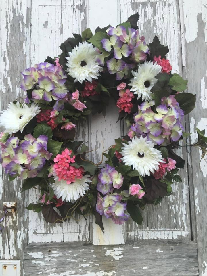 Large wreath with purple hydrangeas and white gerbera daisies by GwensGate on Etsy