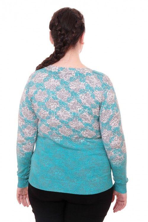 Кофта с узором бирюзовая СК 2412 Размеры: 50 Цена: 400 руб.  http://optom24.ru/kofta-s-uzorom-biryuzovaya-sk-2412/  #одежда #женщинам #кофты #оптом24