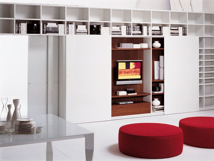 Cool 49 Simple But Smart Living Room Storage Ideas : 49 Smart Living Room  Storage Ideas With White Wooden Storage Cabinet Bookcase Brown Cushions  Table LED ... Part 96