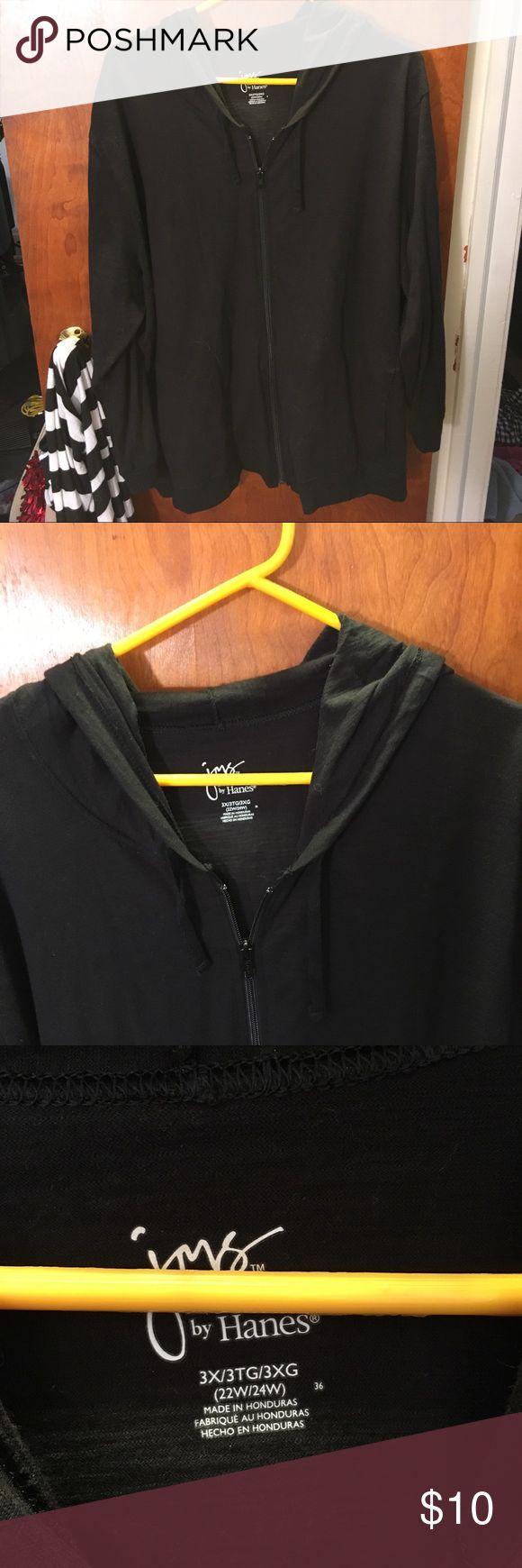 Dark black plus size zip up hoodie Dark black plus size zip up hoodie, loose fitting Tops Sweatshirts & Hoodies
