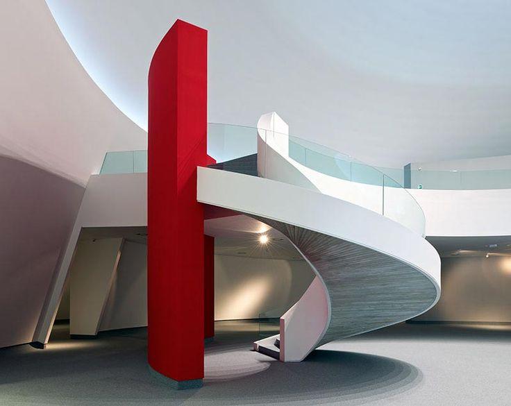 Staircase in the Niemeyer Centre, designed by Oscar Niemeyer, in Aviles, Spain
