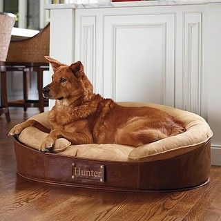 Love the classic look of this faux-leather dog bed!