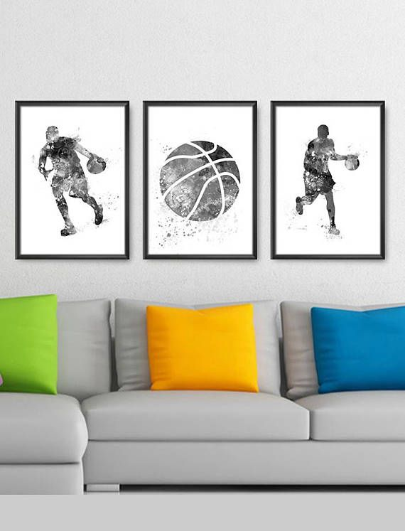 Basketball Print Set Of 3 Black And White No1 Sport Decor Basketball Nursery Art Basketball Watercolor Sp Sports Wall Art Basketball Wall Art Diy Wall Art