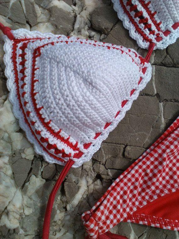 b19f3ca2051 Red crochet fabric bikini - Crochet Vintage bikini Boho bikini Hippie  bikini Triangle bikini String bikini   Bôho   Pinterest   Crochet fabric…