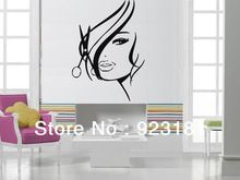 Free Shipping Hot Sexy Girl Hair Spa Beauty Salon Wall Stickers Decal DIY Home…