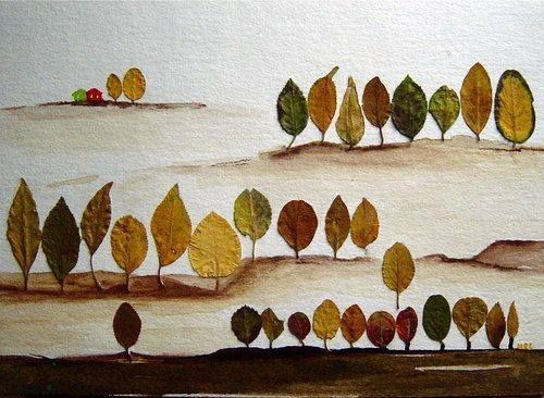 Фантазия из осенних листьев - аппликация на тему природы 5