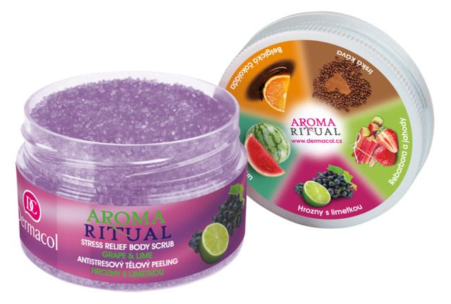 dermacol - aroma ritual - stress relief body scrub - grape and lime