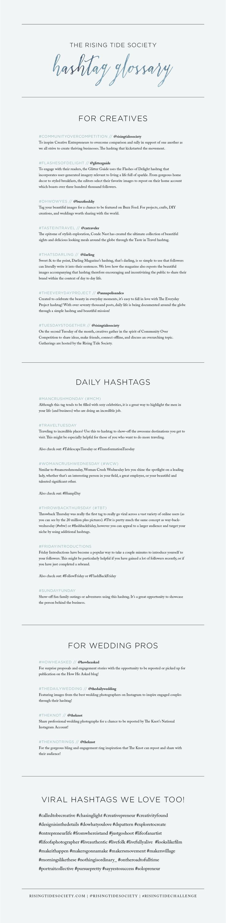 A Full List of Instagram Hashtags for Creative Entrepreneurs via The Rising Tide Society // #creatives #instagram
