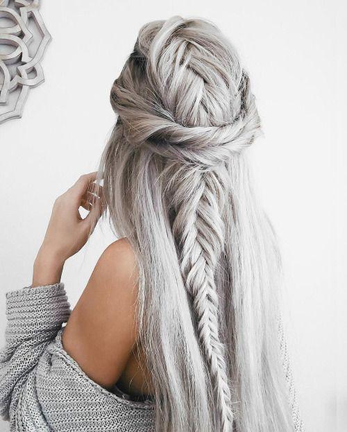 silver fish tail braid hairstyle