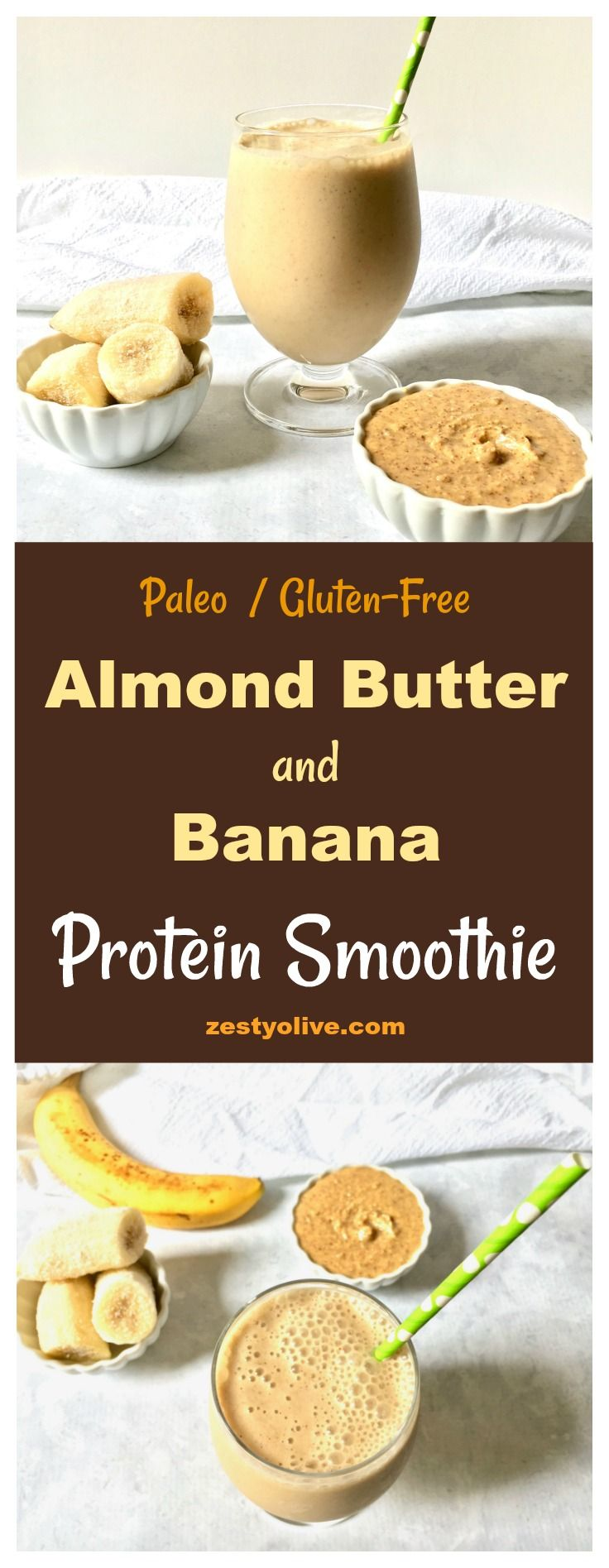 This Almond Butter and Banana Protein Smoothie is healthy, paleo and gluten-free. #smoothie #proteinshakes #ProteinSmoothie #almondbutter #recipes #vitamixrecipes #bananas #glutenfree #paleo #breakfast