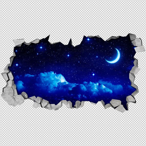 Stunning Mond Wallpaper D Wandtattoo Gebrochene Wandtattoo