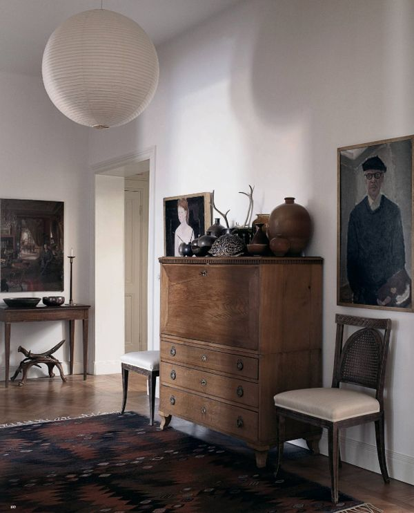 Lights, Stockholm Apartments, Interiors, Mats Gustafson, Living Room, Dressers, Rugs, White Wall, Antiques