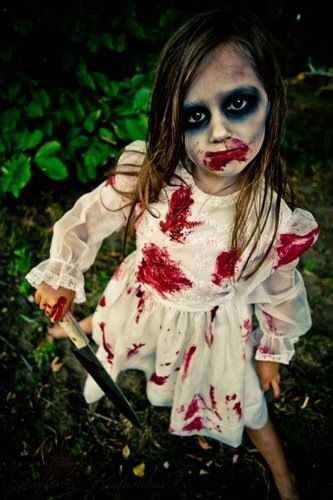 Zombie kid Halloween makeup by me . Dress from Salvation Army.  Photo by @Dakota Bruce at Sunflower Productions LLC