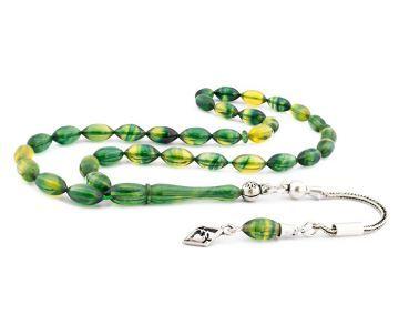 Gümüş Püsküllü Yeşil Hareli Sıkma Kehribar Tesbih