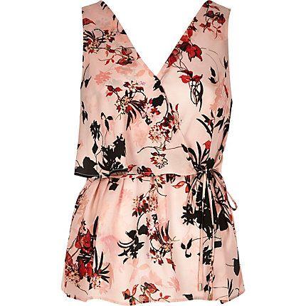 Pink floral print frill wrap V-neck top $30.00