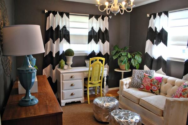 "bryn alexandra: The ""Non-Office"" Office: Living Rooms, Offices Spaces, Wall Color, Bold Color, Small Spaces, Yellow Chairs, Dark Wall, Chevron Curtains, Gray Wall"