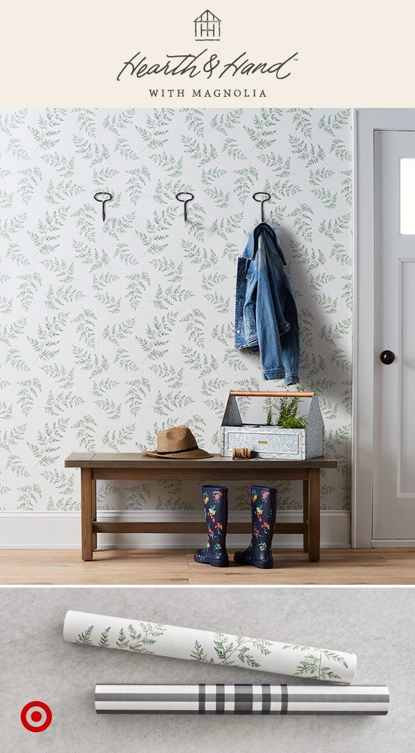 Just In Hooks Wallpaper Perfect For Creating A Beautiful And Just As Practical Mudroom Or Entryway Home Wallpaper Wallpapered Entryway Magnolia Wallpaper