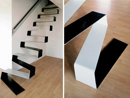 Nope, it's not the rippling ribbon you lost while wrapping that birthday gift, these are the stairs to the 2nd floor of your apartment! Designed by HSH Architects, this staircase is pretty awesome!Link