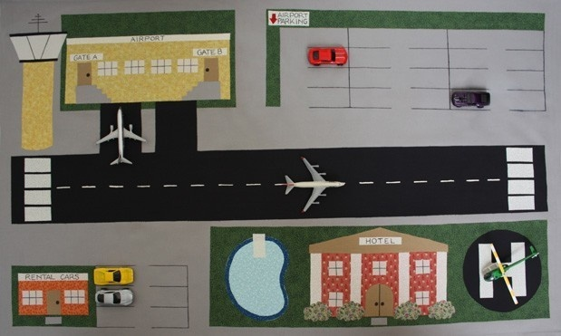 Toy Car Town Airport - ePattern for a Toy Car Play Mat. $8.00, via Etsy.