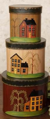 3 PIECE NESTING BOXES LIVE LAUGH LOVE SALTBOX HOUSE WILLOW TREE PRIMITIVE ACCENT