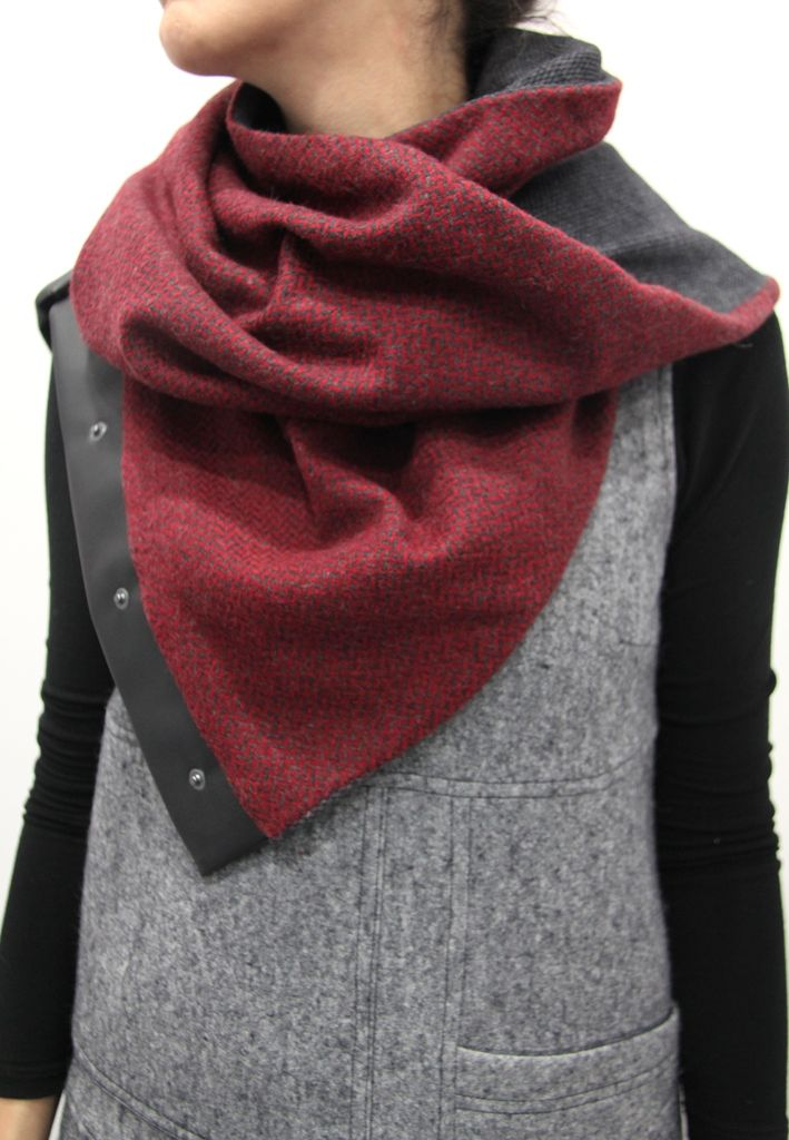 red grey scarf buttons leather