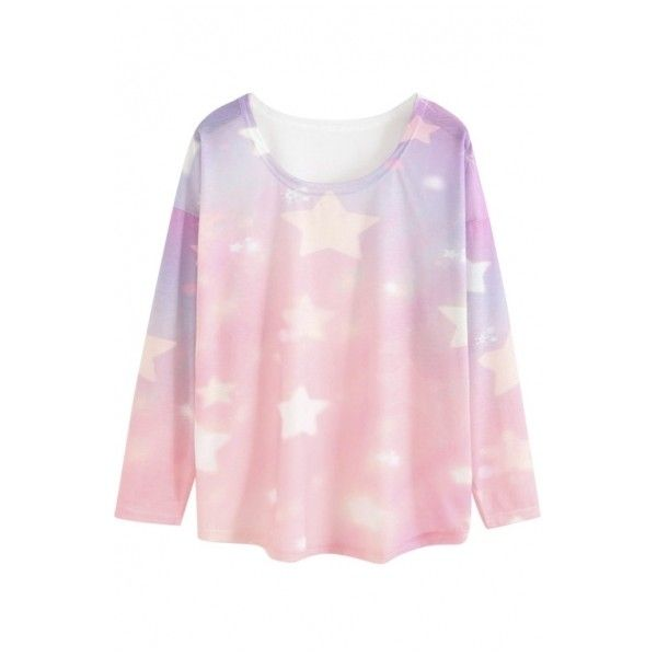 Round Neck Long Sleeve Star Print Pink Tee ($20) ❤ liked on Polyvore featuring tops, t-shirts, kawaii, pastel, shirts, sweaters, long sleeve t shirt, t shirts, long t shirts and long sleeve graphic tees