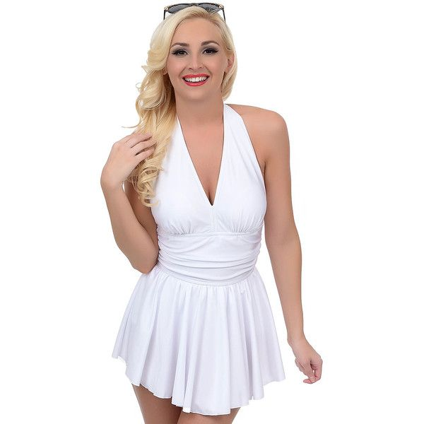 Esther Williams Vintage 1950s Style Pin-Up White Marilyn Swimdress ($57) ❤ liked on Polyvore