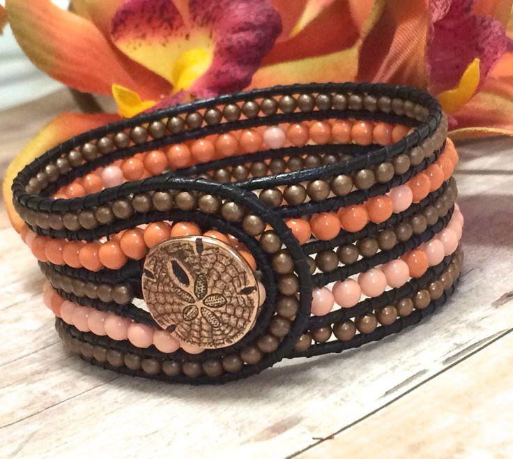 Beaded Leather Cuff Bracelet, 5 Row Beaded Cuff, Swarovski Pearls, Copper Sand Dollar, Coral Cuff Bracelet, Summer Jewelry, Beach Bracelet by SunsetSouthPaw on Etsy