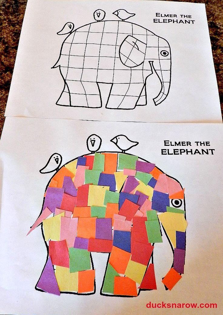 Elmer the Patchwork Elephant, elephant craft, preschool craft #preschool #apeekintomyparadise #happinessishomemade