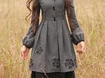 Long sleeve trench coat vintage style mantelkleid