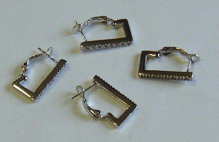 6 base per orecchini in metallo colore argento