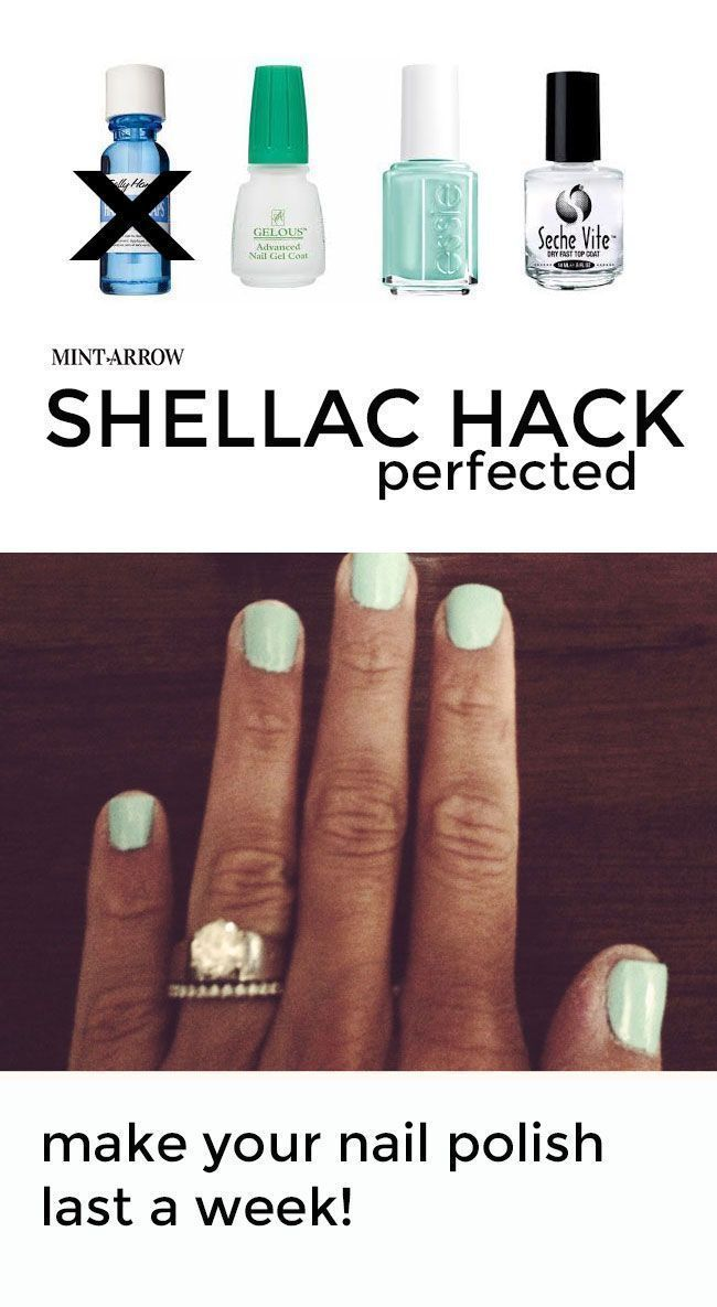 DIY shellac hack - make your polish last a week! no curing light required, comes right off with nail polish remover.