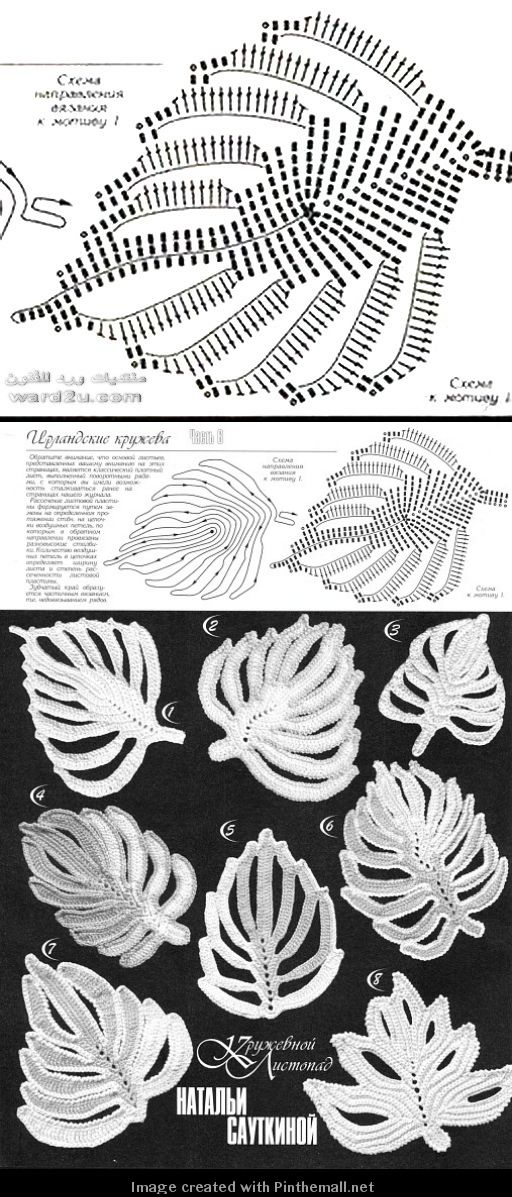 another lovely irish crochet leaf motif chart                                                                                                                                                      Mais