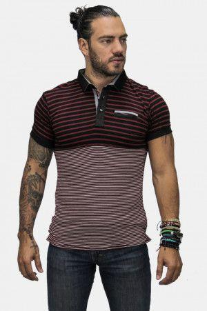 Playera Roja Tipo Polo Hombre con Estampado Rayado. Checa más #ropa de #hombre en el link ==> https://www.fashoop.com/hombre/ropa-de-hombre.html
