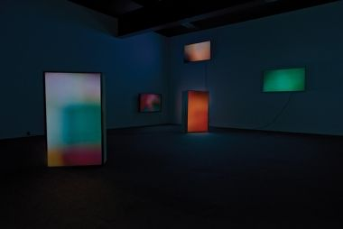 Taeyoon Kim, Steady Griffins, 2014. Five channel video, random loop, colour, no audio. Photograph Mike Richards. Taeyoon Kim review, Eyeline contemporary visual arts issue 85.