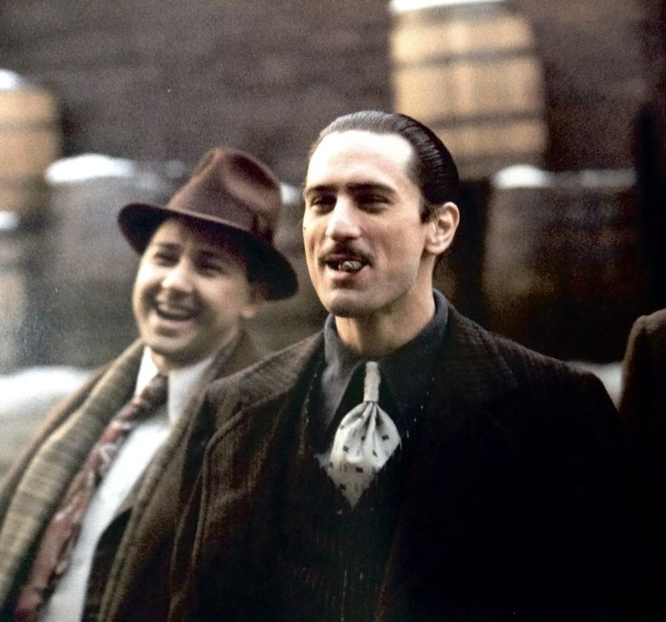 """denirobooty: """" Robert De Niro as Young Vito Corleone and Bruno Kirby as Young Clemenza behind the scenes of The Godfather Part II. """""""