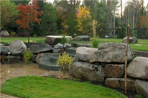 Boulder Landscape Wall  Walkway and Path  Copper Creek Landscaping  Mead, WA