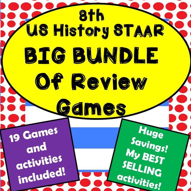 Huge bundle of 8th grade US History STAAR games - Active, Hands-on Review!
