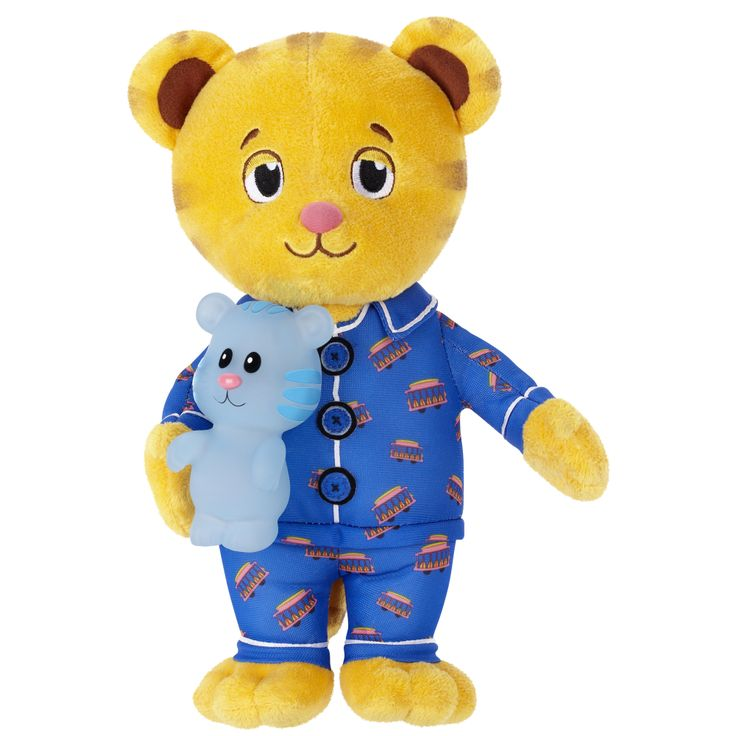 """Dressed in trolley pajamas, the Good Night Daniel Tiger & Tige-y plush are ready for naptime or bedtime. Encouraging phrases and a song from Daniel will provide all the comfort a child needs to drift off to sleep. Daniel Tiger sings the """"Good Night"""" song to his best friend Tige-y who has a soothing, soft light glow. Two modes of play are available: phrases, light and song, or light only. (SRP $24.99, Ages 2+) Jakks Pacific #ToyFairNY"""
