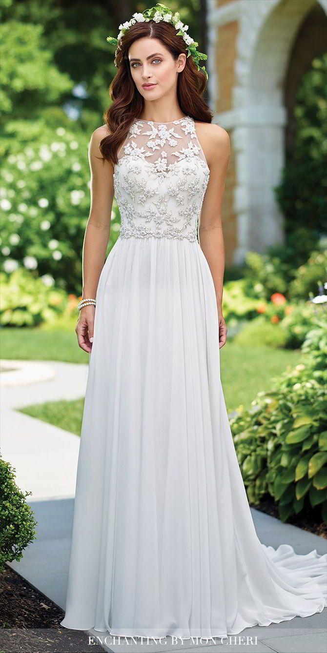Sleeveless chiffon A-line gown with hand-beaded illusion high jewel neckline, ha…