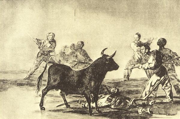 Acción de desjarretear el toro . Grabado de Goya Tauromaquia .