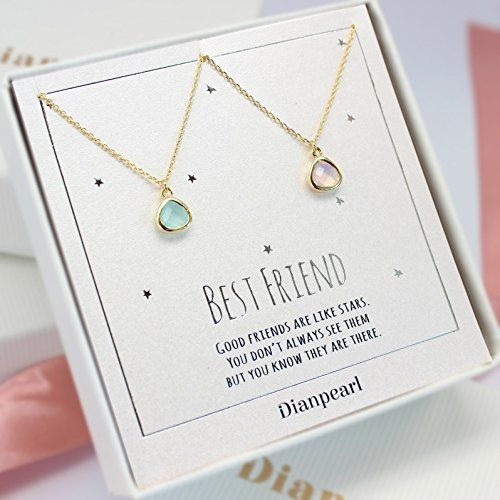 Amazon.com: pink and aqua crystal necklace, Best friends necklace for 2, BFF Necklace, friendship necklace for 2, Gold dainty necklace, gemstone necklace, tiny crystal,: Handmade