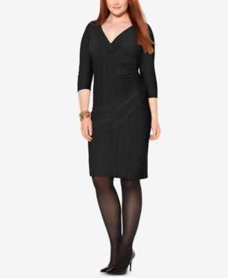 Lauren Ralph Lauren Plus Size Jersey Surplice Dress - Black 22W