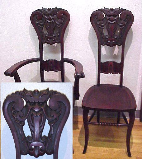 14a Pair Of Carved Mahogany Quot North Wind Quot Chairs Familiar