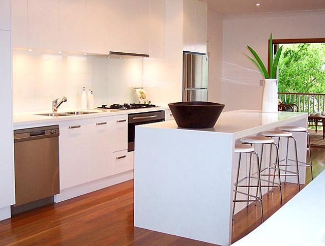 """Caesarstone® Pure White bench top  (Pure White is the purest, cleanest, dense white available.This colour meets the ongoing demand for """"new"""" whites and combines modern style with durability.)"""