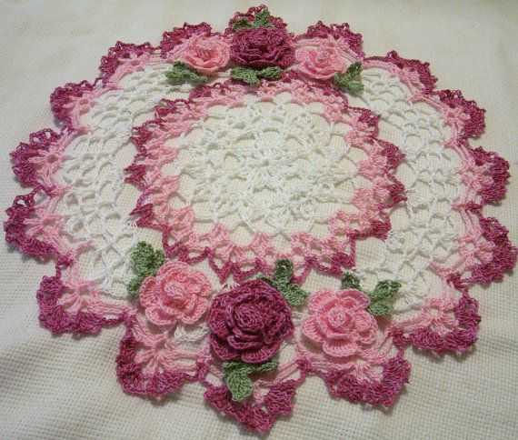 crocheted doily pink roses home decor handmade in USA original design