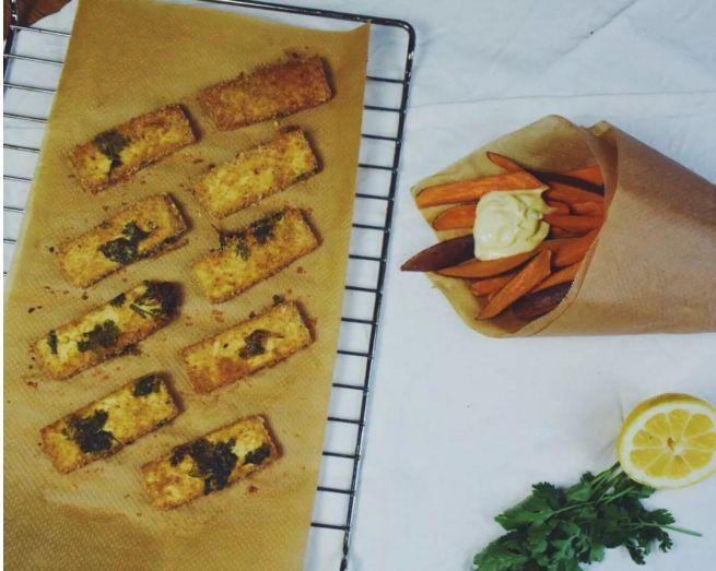 Vegan fish and chips van tofu en zoete aardappel | Gezond eten magazine