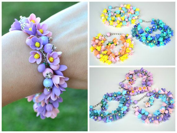 FREE EARRINGS Wedding bridal flower purple violet by IvannaFlorist