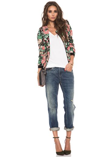 LOVERS + FRIENDS Catch Up Bomber Jacket in Autumn Rose