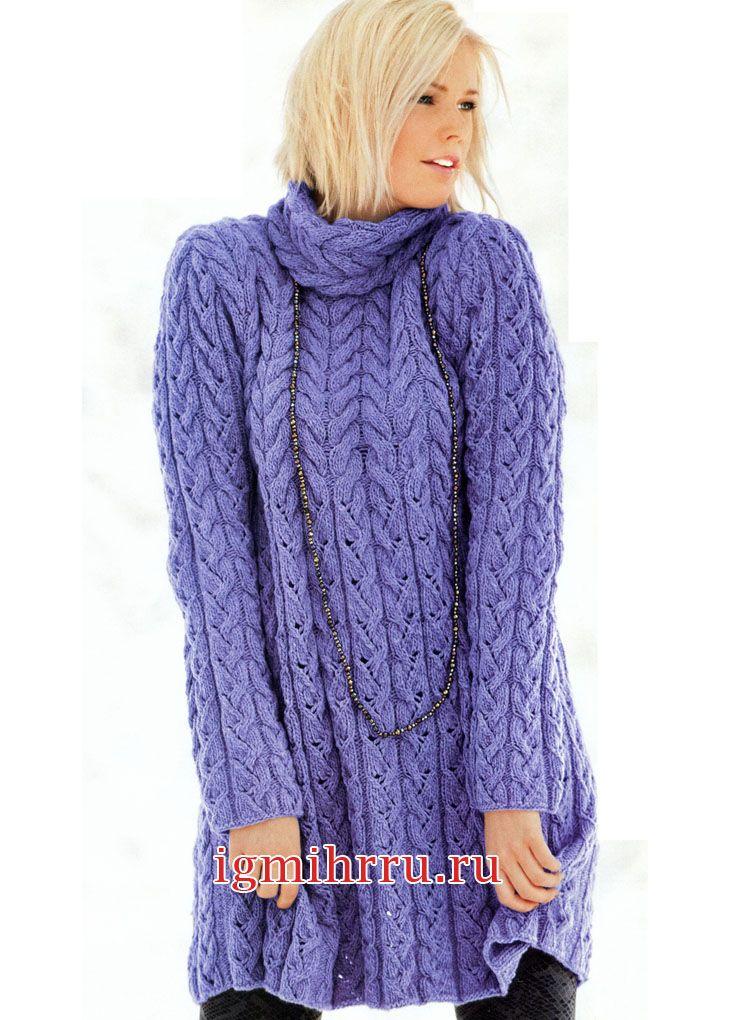 Сиреневое шерстяное платье с узором из кос. Вязание спицами Особый комфорт, мягкость и тепло платью придает пряжа из мериносовой шерсти. В таком платье минусовые температуры не страшны
